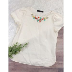Zara • Gemstone neckline blouse ✨